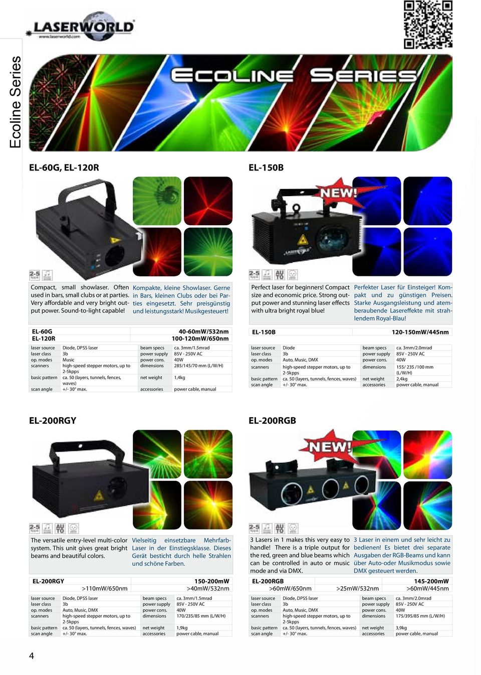 EL-60G 40-60mW/532nm EL-120R 100-120mW/650nm laser source Diode, DPSS laser beam specs ca. 3mm/1.5mrad laser class 3b power supply 85V - 250V AC op. modes Music power cons.