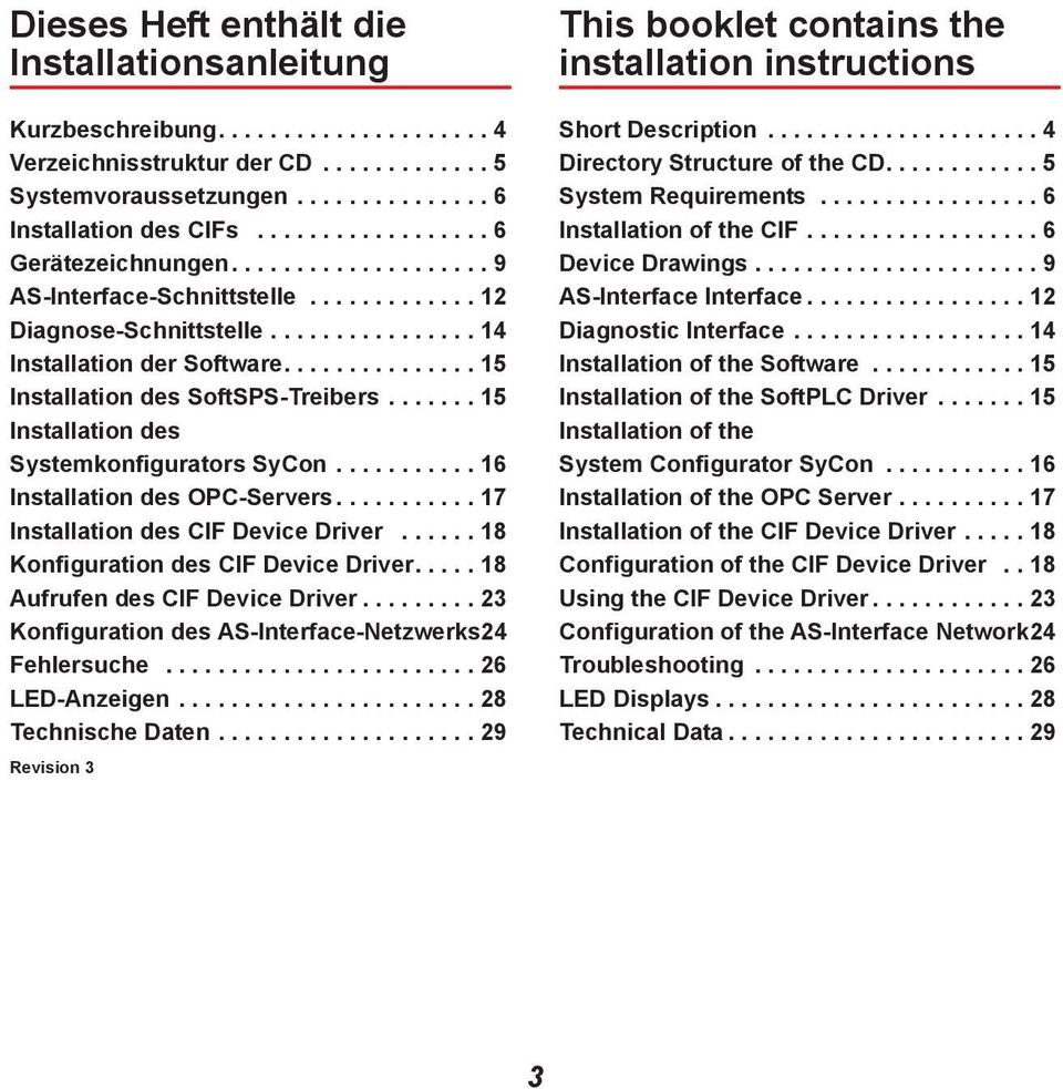 .............. 15 Installation des SoftSPS-Treibers....... 15 Installation des Systemkonfigurators SyCon........... 16 Installation des OPC-Servers........... 17 Installation des CIF Device Driver.