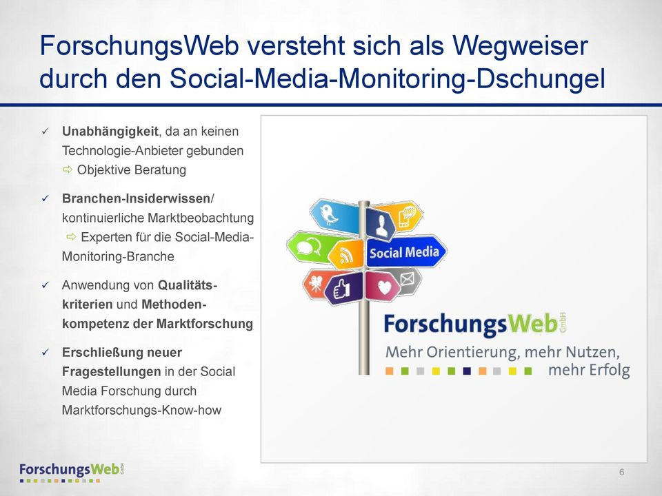 Social Media Forschung durch Marktforschungs-Know-how Marktforschungsinstitute Know-how der Datenanalyse und Beantwortung der Kundenfragen Analyse-Know-how Social Media-Monitoring Branche