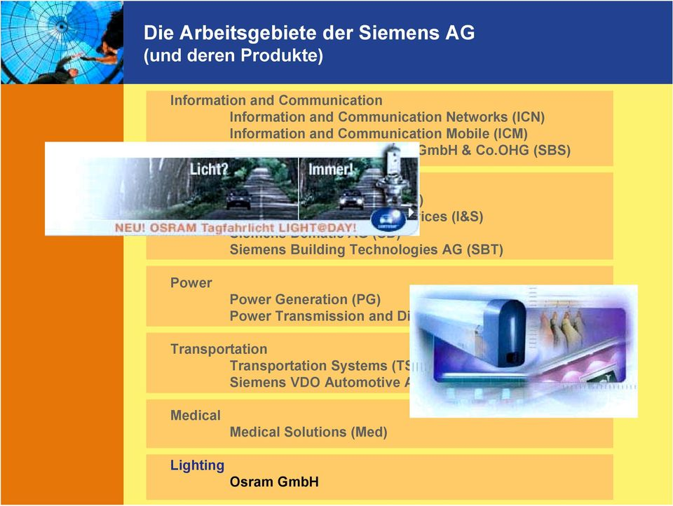 OHG (SBS) Automation and Control Automation and Drives (A&D) Industrial Solutions and Services (I&S) Siemens Dematic AG (SD) Siemens Building