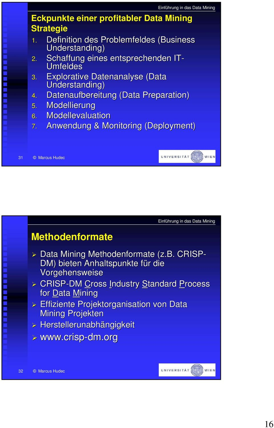 Modellevaluation 7. Anwendung & Monitoring (Deployment) 31 Methodenformate Data Mining Methodenformate (z.b.