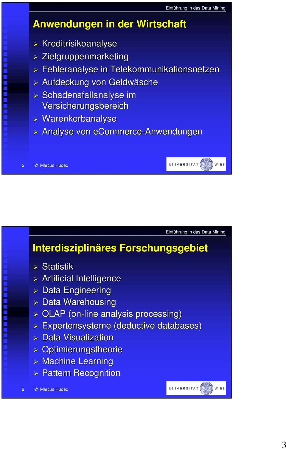 Interdisziplinäres Forschungsgebiet Statistik Artificial Intelligence Data Engineering Data Warehousing OLAP (on-line