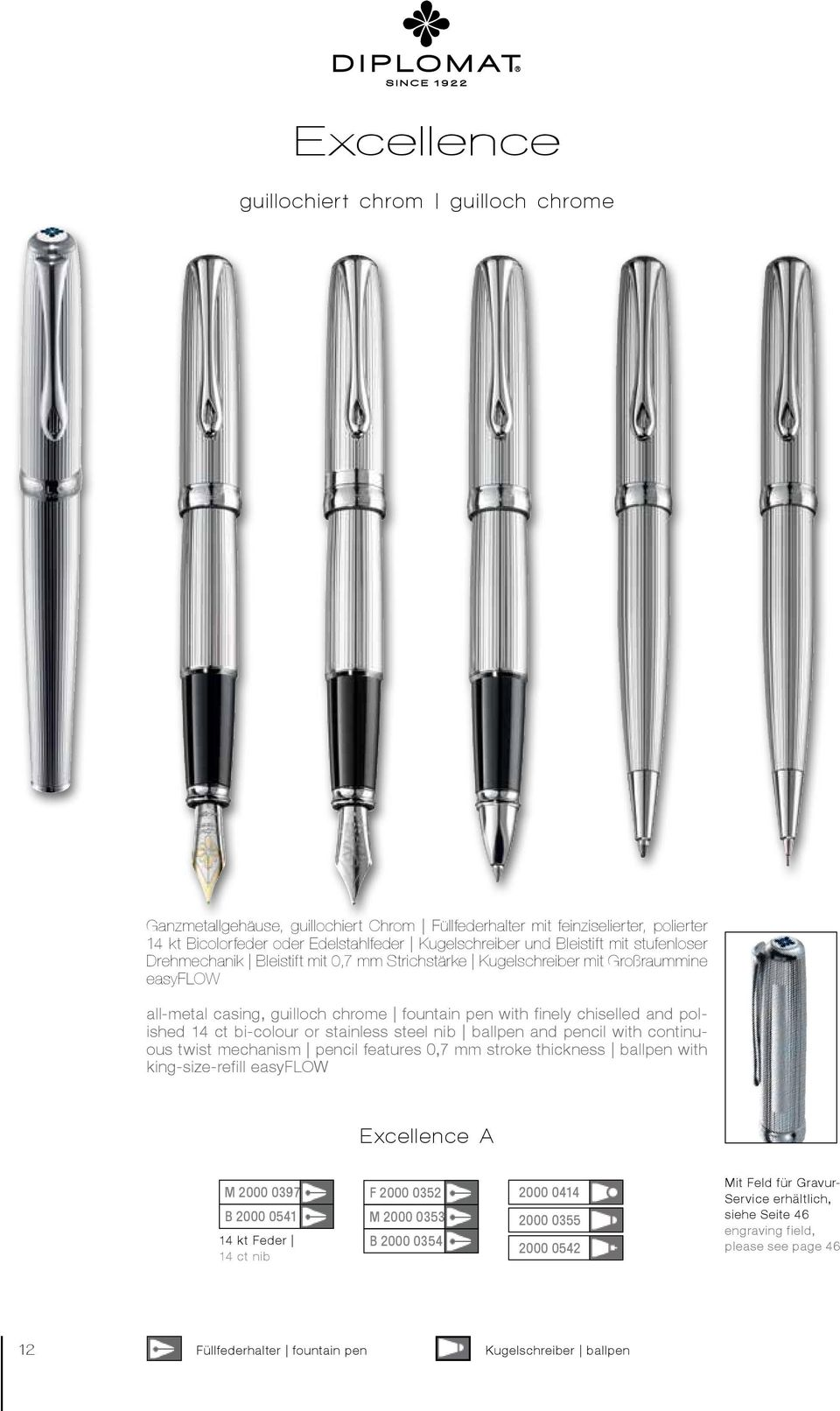 bi-colour or stainless steel nib ballpen and pencil with continuous twist mechanism pencil features 0,7 mm stroke thickness ballpen with king-size-refill easyflow Excellence A M 2000 0397 B 2000 0541