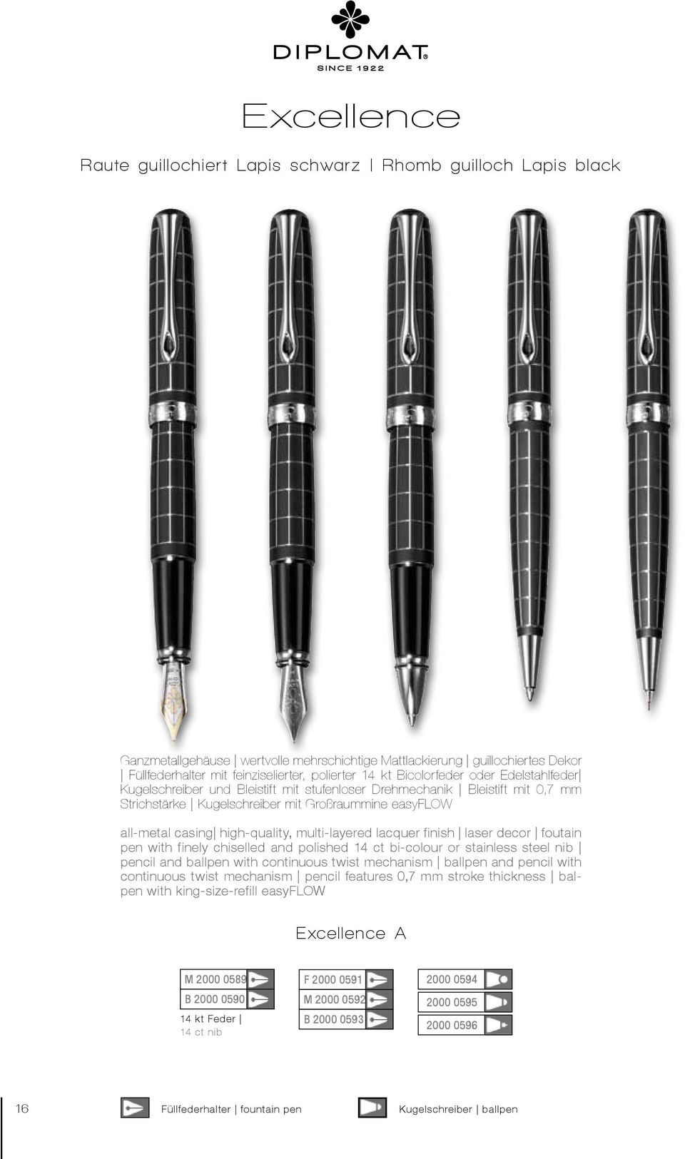 multi-layered lacquer finish laser decor foutain pen with finely chiselled and polished 14 ct bi-colour or stainless steel nib pencil and ballpen with continuous twist mechanism ballpen and pencil