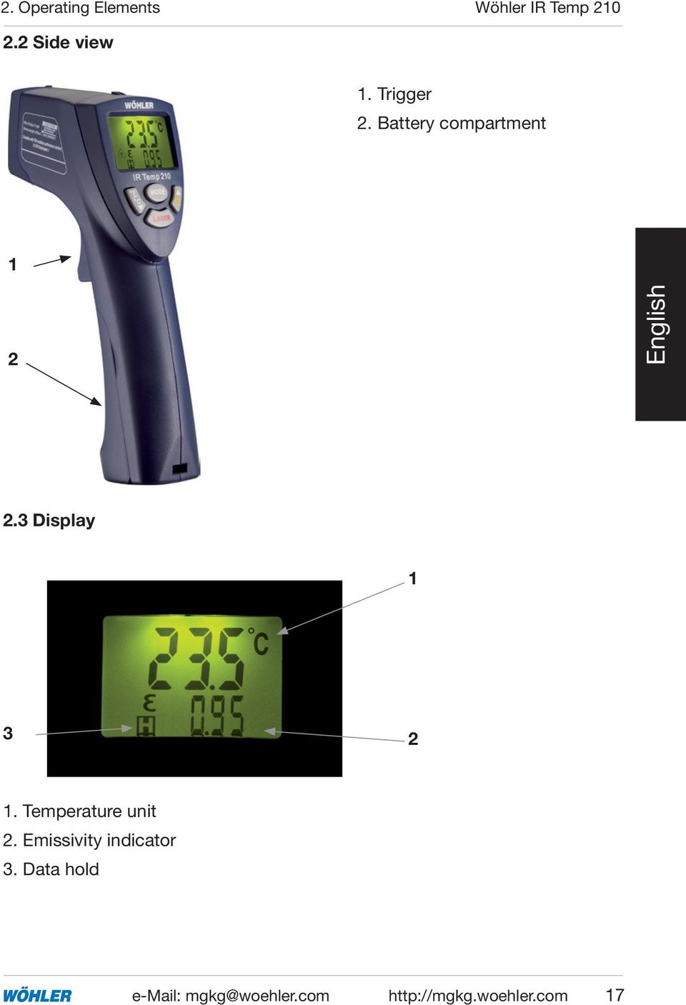 Temperature unit 2. Emissivity indicator 3.