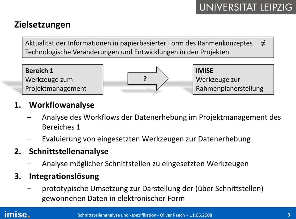Workflowanalyse Analyse des Workflows der Datenerhebung im Projektmanagement des Bereiches 1 Evaluierung von eingesetzten Werkzeugen zur Datenerhebung 2.