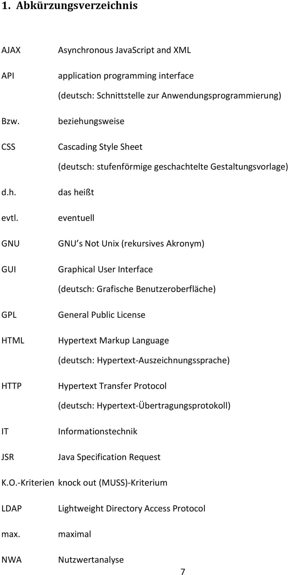 GNU GUI das heißt eventuell GNU s Not Unix (rekursives Akronym) Graphical User Interface (deutsch: Grafische Benutzeroberfläche) GPL HTML General Public License Hypertext Markup Language