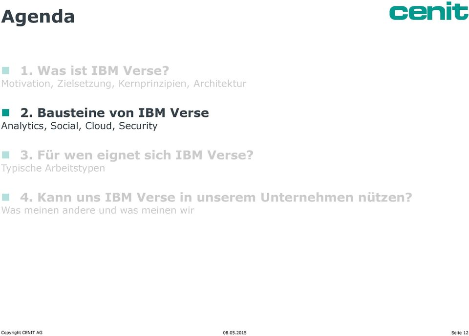 Bausteine von IBM Verse Analytics, Social, Cloud, Security 3.