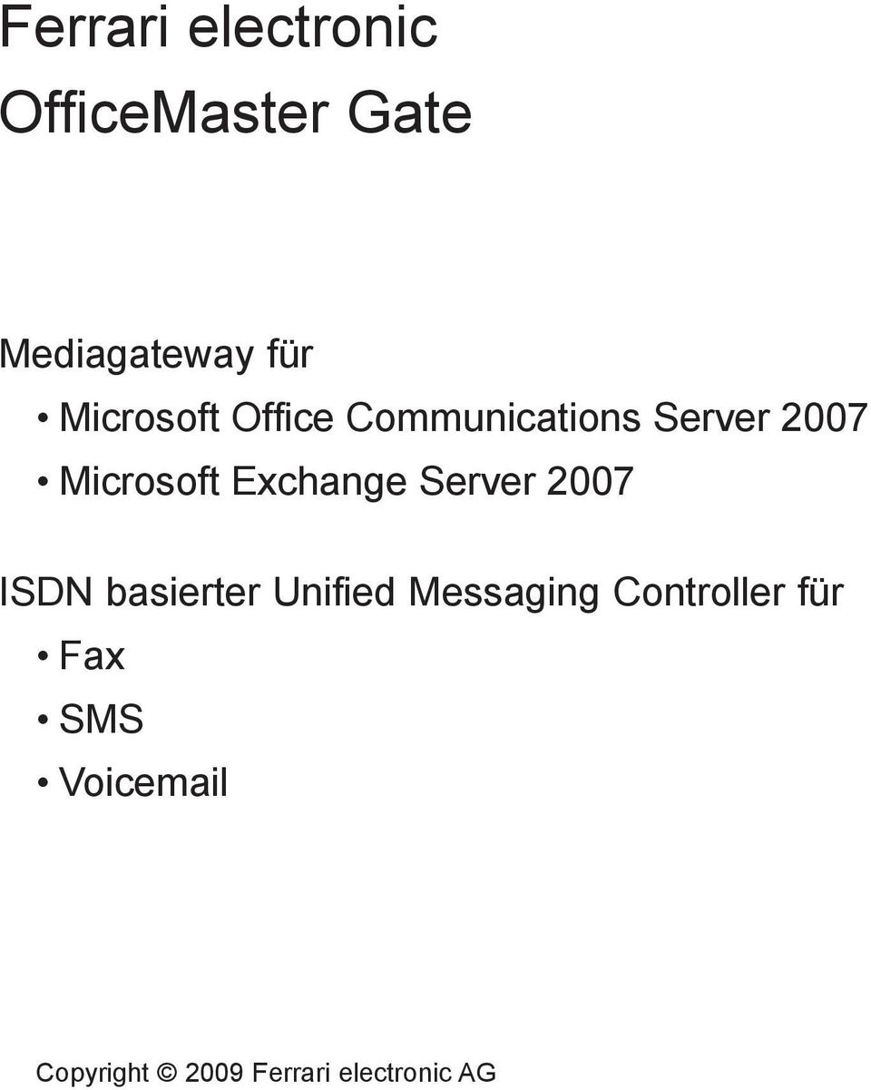 Exchange Server 2007 ISDN basierter Unified Messaging