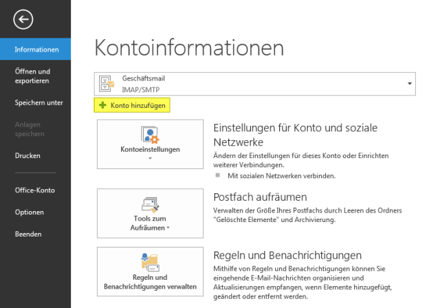 E-Mailprogramm: Outlook 2013 1.