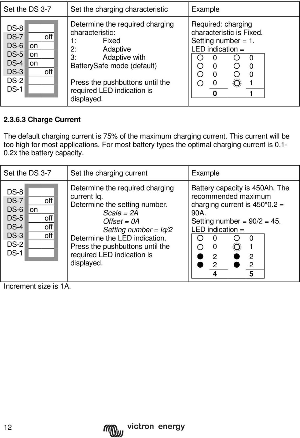 3 Charge Current The default charging current is 75% of the maximum charging current. This current will be too high for most applications. For most battery types the optimal charging current is 0.1-0.
