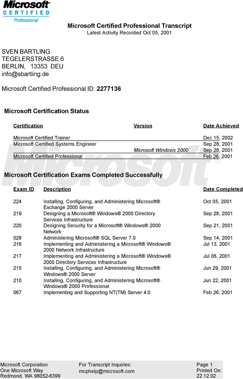 28, 2001 Microsoft Windows 2000 Sep 28, 2001 Microsoft Certified Professional Feb 26, 2001 Microsoft Certification Exams Completed Successfully Exam ID Description Date Completed 224 Installing,