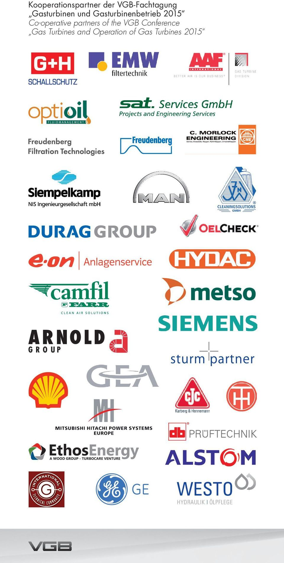 Co-operative partners of the VGB Conference Gas