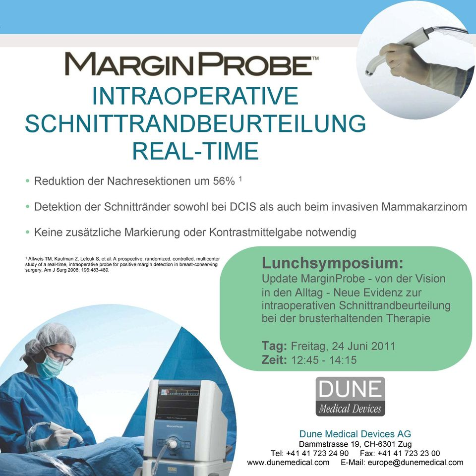 A prospective, randomized, controlled, multicenter study of a real-time, intraoperative probe for positive margin detection in breast-conserving surgery. Am J Surg 2008; 196:483-489.