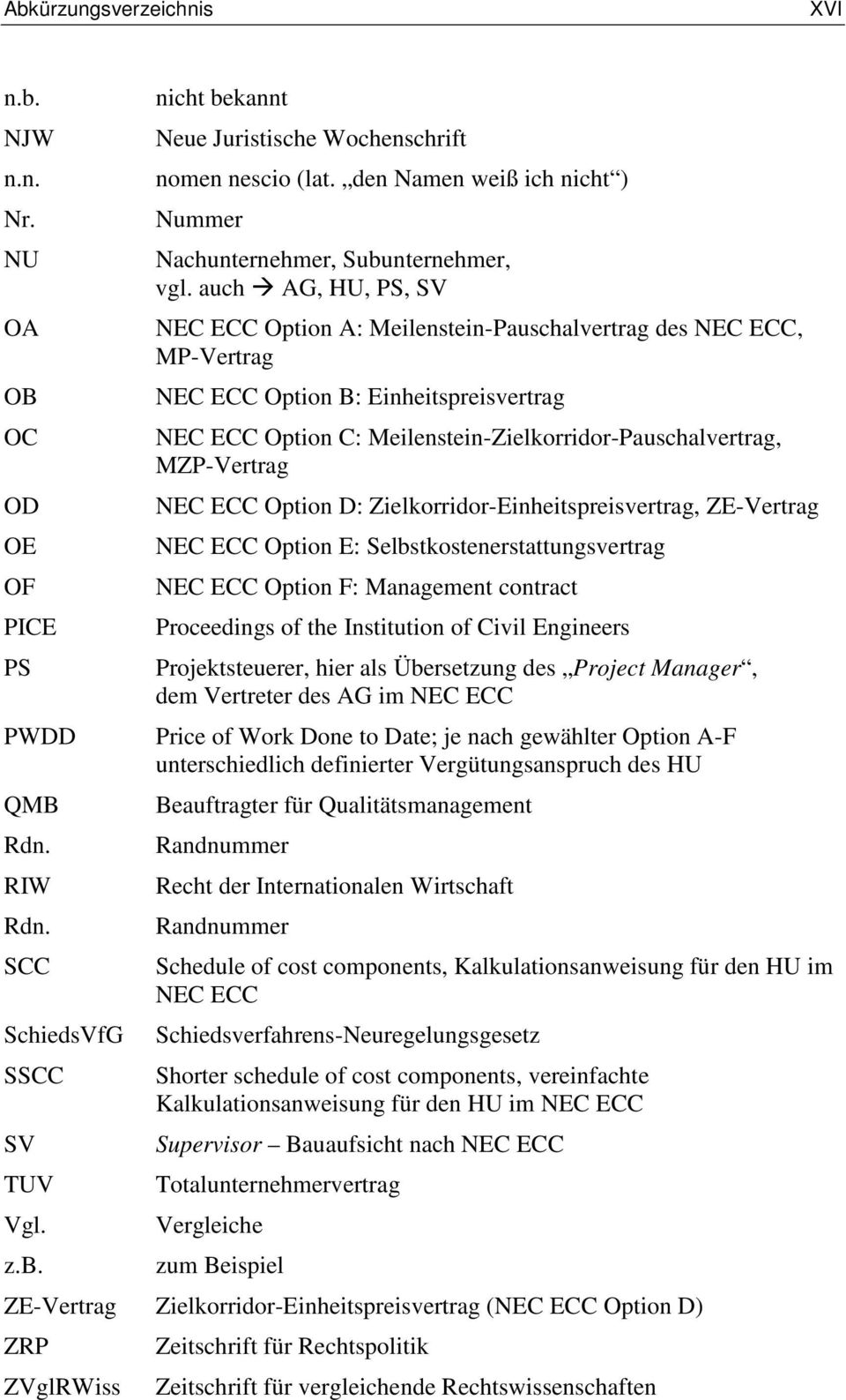 auch AG, HU, PS, SV NEC ECC Option A: Meilenstein-Pauschalvertrag des NEC ECC, MP-Vertrag NEC ECC Option B: Einheitspreisvertrag NEC ECC Option C: Meilenstein-Zielkorridor-Pauschalvertrag,