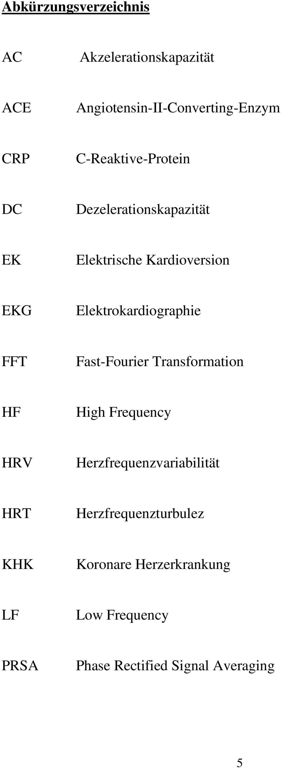 Elektrokardiographie FFT Fast-Fourier Transformation HF High Frequency HRV