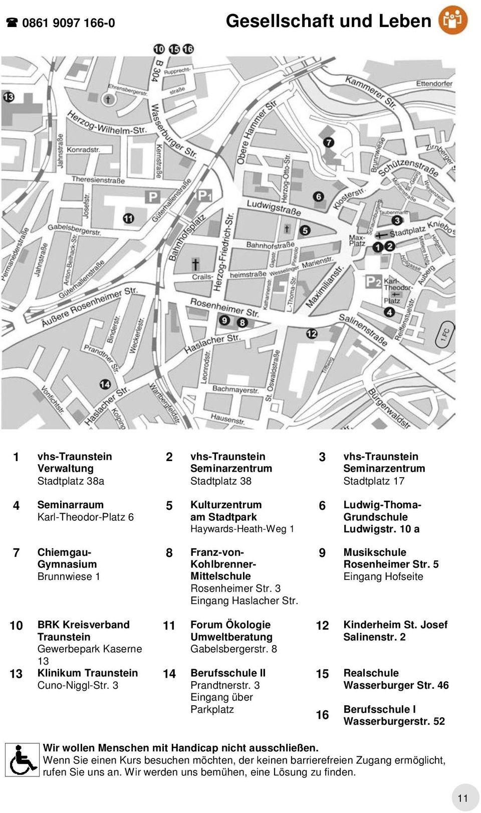 3 2 vhs-traunstein Seminarzentrum Stadtplatz 38 5 Kulturzentrum am Stadtpark Haywards-Heath-Weg 1 8 Franz-von- Kohlbrenner- Mittelschule Rosenheimer Str. 3 Eingang Haslacher Str.