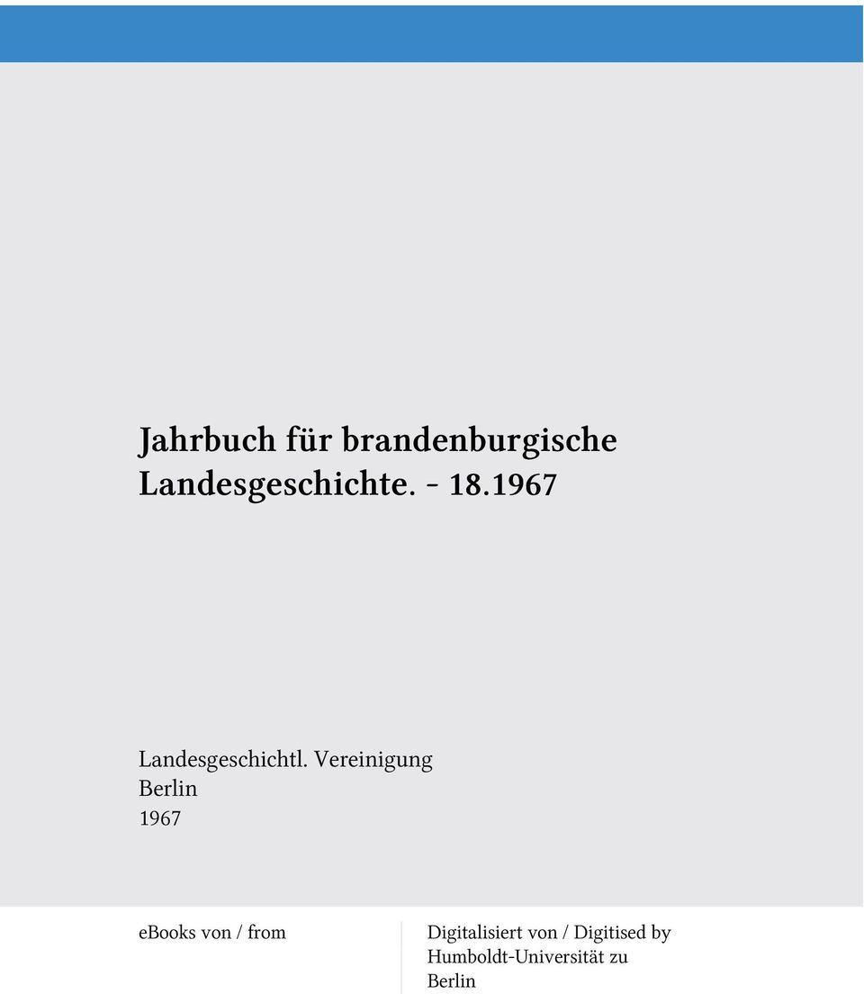 Vereinigung Berlin 1967 ebooks von / from