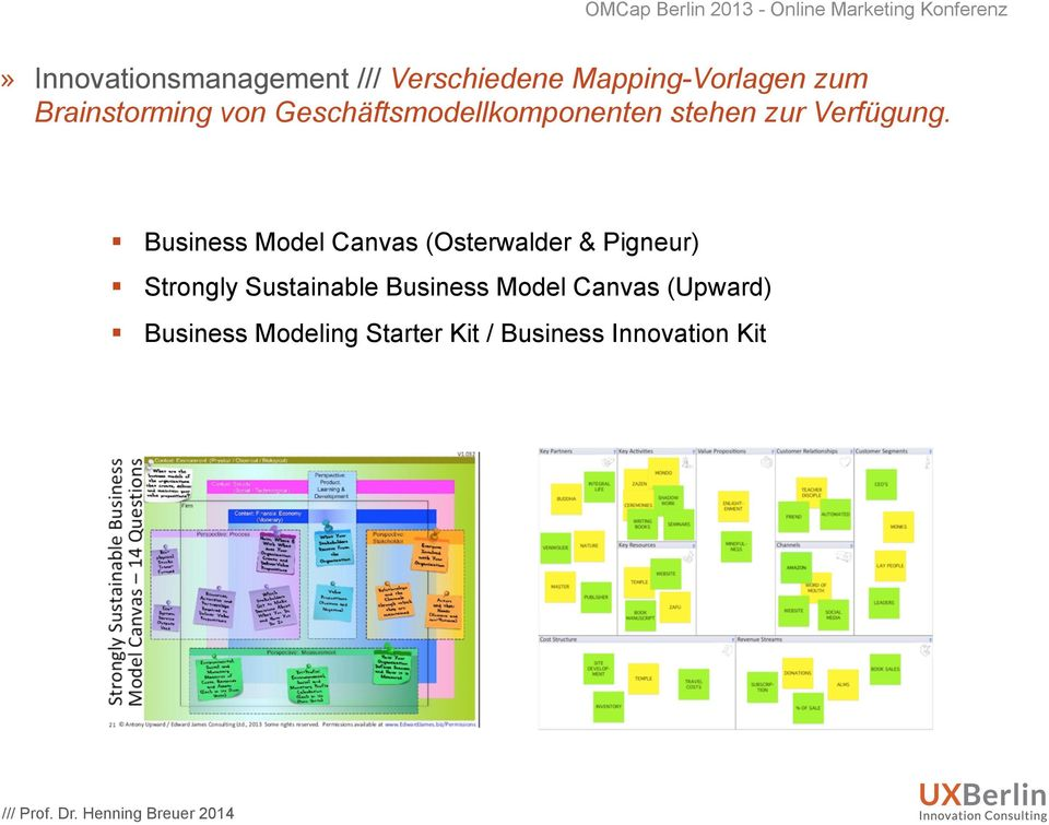 Business Model Canvas (Osterwalder & Pigneur) Strongly Sustainable Business