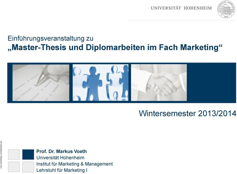 Diplomarbeiten im Fach Marketing Wintersemester 2013/2014