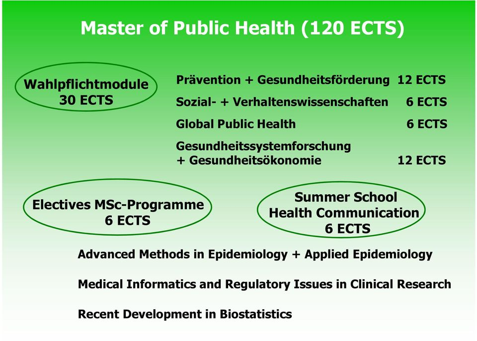 ECTS + 12 ECTS Electives MSc-Programme ECTS Summer School Health Communication ECTS