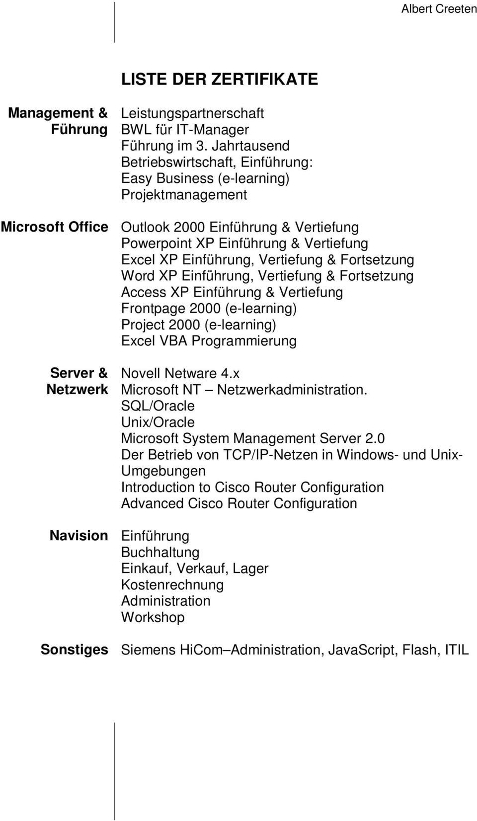Einführung, Vertiefung & Fortsetzung Word XP Einführung, Vertiefung & Fortsetzung Access XP Einführung & Vertiefung Frontpage 2000 (e-learning) Project 2000 (e-learning) Excel VBA Programmierung