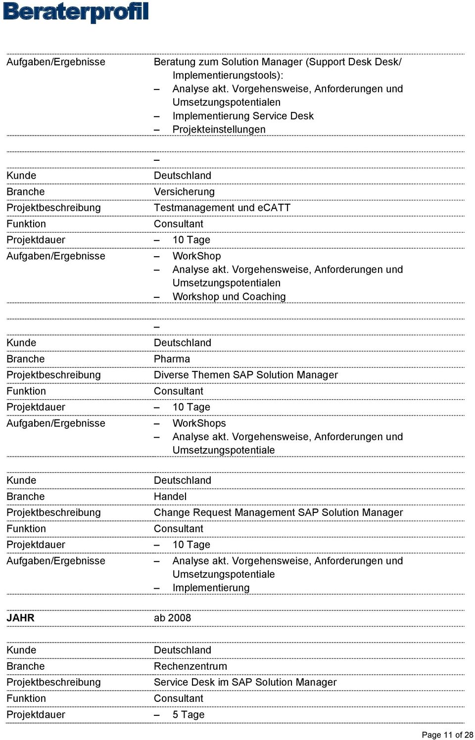 Themen SAP Solution Manager s Change Request Management SAP Solution Manager Aufgaben/Ergebnisse