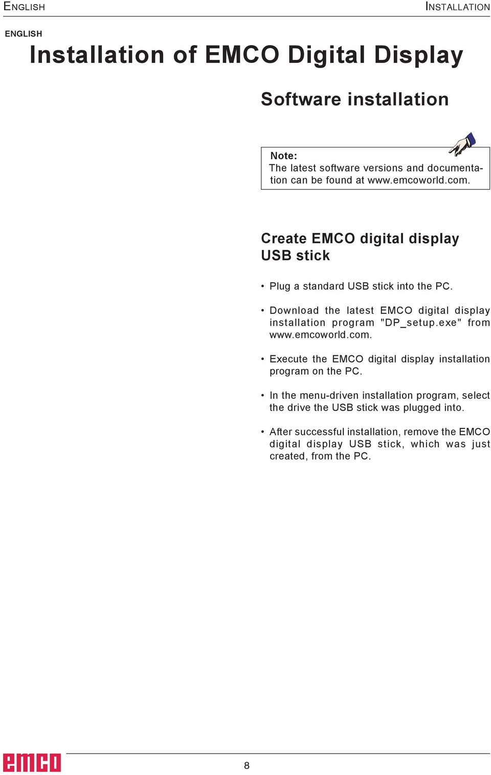 "Download the latest EMCO digital display installation program ""DP_setup.exe"" from www.emcoworld.com."
