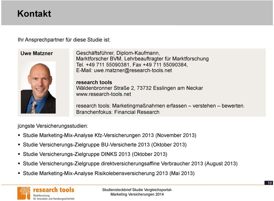 Branchenfokus: Financial Research Studie Marketing-Mix-Analyse Kfz-Versicherungen 2013 (November 2013) Studie Versicherungs-Zielgruppe BU-Versicherte 2013 (Oktober 2013) Studie
