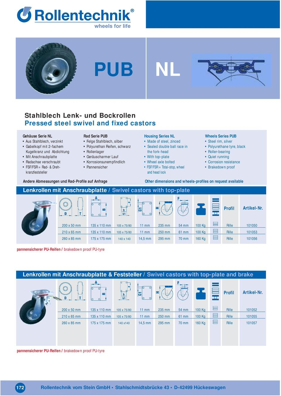 NL Made of steel, zinced Sealed double ball race in the fork-head With top-plate Wheel axle bolted FSF/FSR = Total-stop, wheel and head lock Wheels Series PUB Steel rim, silver Polyurethane tyre,
