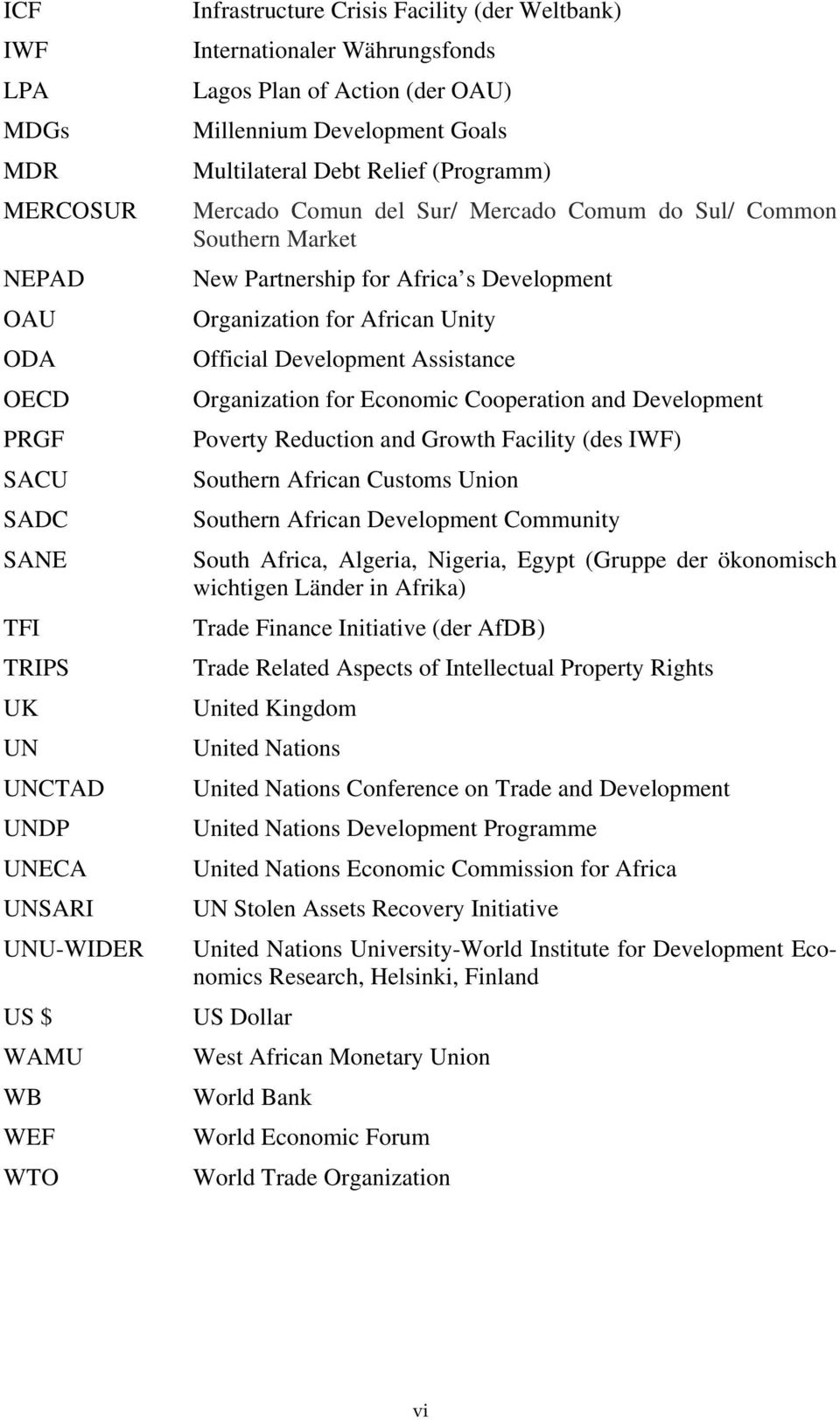 Partnership for Africa s Development Organization for African Unity Official Development Assistance Organization for Economic Cooperation and Development Poverty Reduction and Growth Facility (des