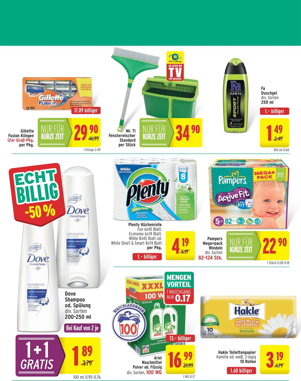 White Short & Smart 8x74 Blatt per Pkg. 1. billiger 4 19 5.19 Pampers Mega+pack Windeln 82-124 Stk. 22 90 1 Stück 0.28-0.18 Dove Shampoo od.