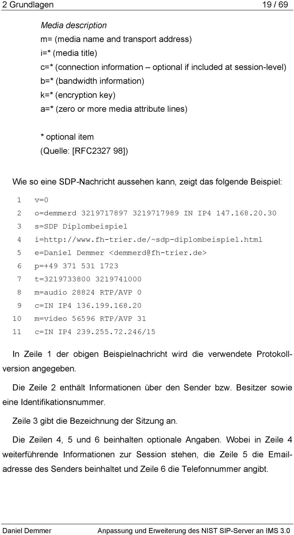 3219717989 IN IP4 147.168.20.30 3 s=sdp Diplombeispiel 4 i=http://www.fh-trier.de/~sdp-diplombeispiel.html 5 e=daniel Demmer <demmerd@fh-trier.