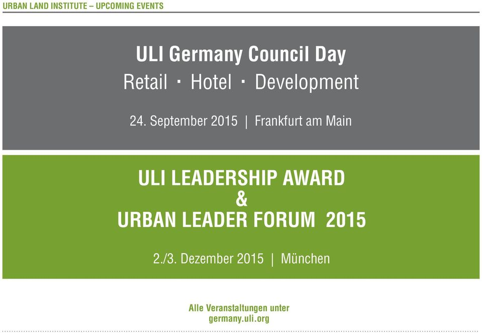 September 2015 Frankfurt am Main ULI LEADERSHIP AWARD &