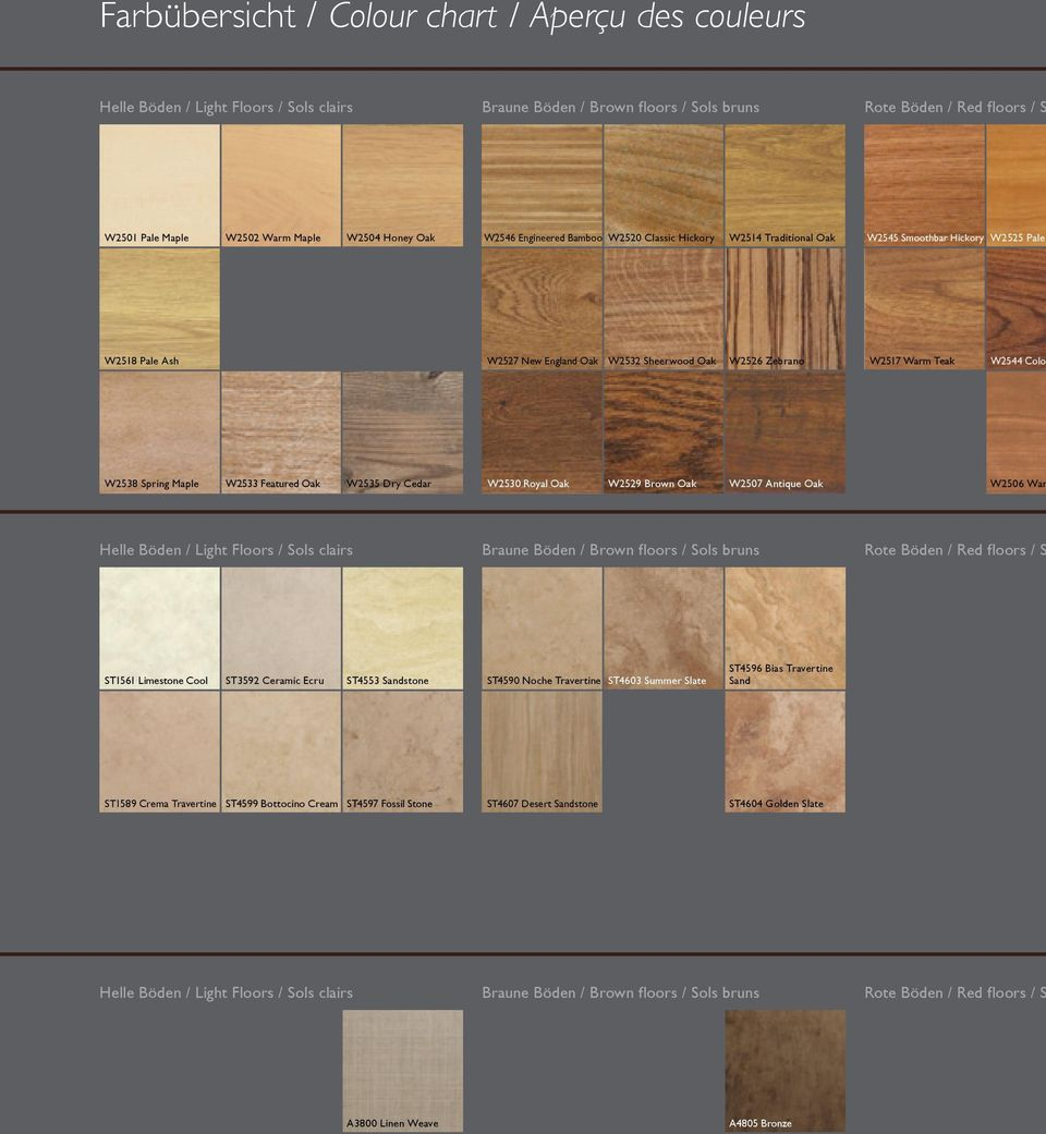 Warm Teak W2544 Color W2538 Spring Maple W2533 Featured Oak W2535 Dry Cedar W2530 Royal Oak W2529 Brown Oak W2507 Antique Oak W2506 War Helle Böden / Light Floors / Sols clairs Braune Böden / Brown