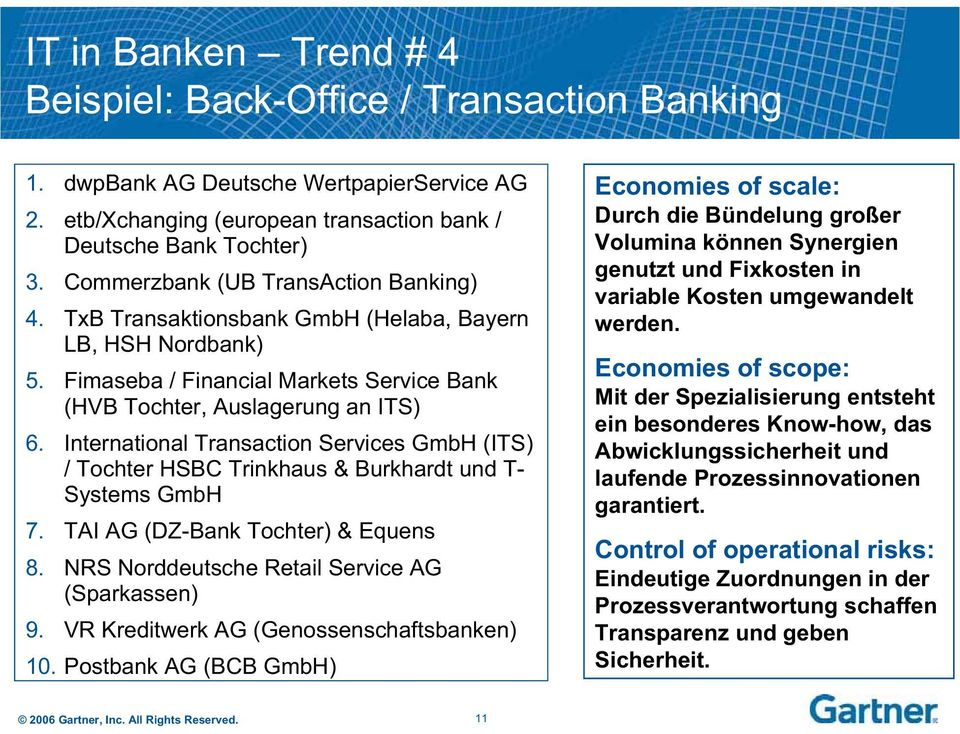 International Transaction Services GmbH (ITS) / Tochter HSBC Trinkhaus & Burkhardt und T- Systems GmbH 7. TAI AG (DZ-Bank Tochter) & Equens 8. NRS Norddeutsche Retail Service AG (Sparkassen) 9.