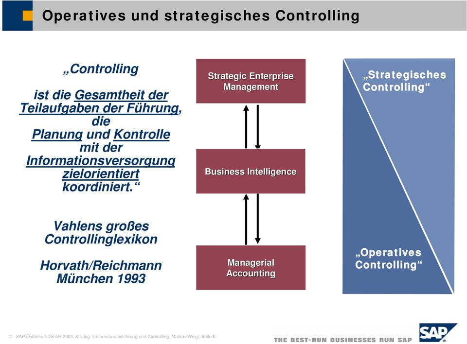 Strategic Enterprise Management Business Intelligence Strategisches Controlling Vahlens großes Controllinglexikon
