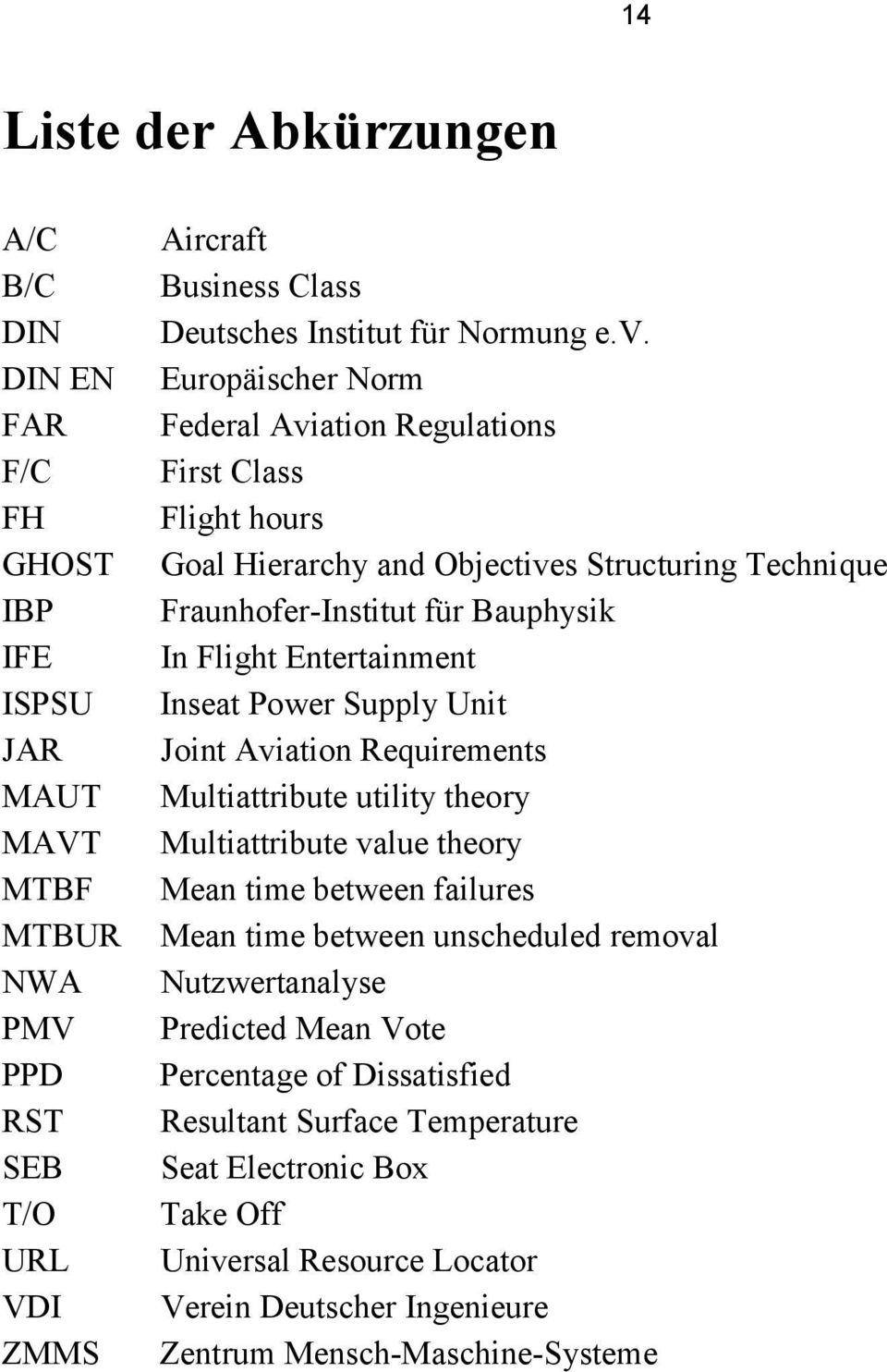 Europäischer Norm Federal Aviation Regulations First Class Flight hours Goal Hierarchy and Objectives Structuring Technique Fraunhofer-Institut für Bauphysik In Flight Entertainment Inseat