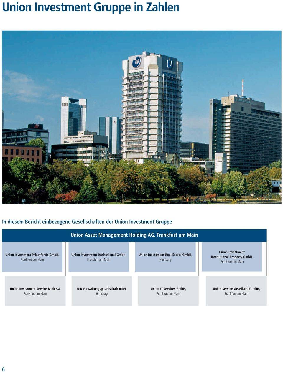 Investment Real Estate GmbH, Hamburg Union Investment Institutional Property GmbH, Frankfurt am Main Union Investment Service Bank AG,