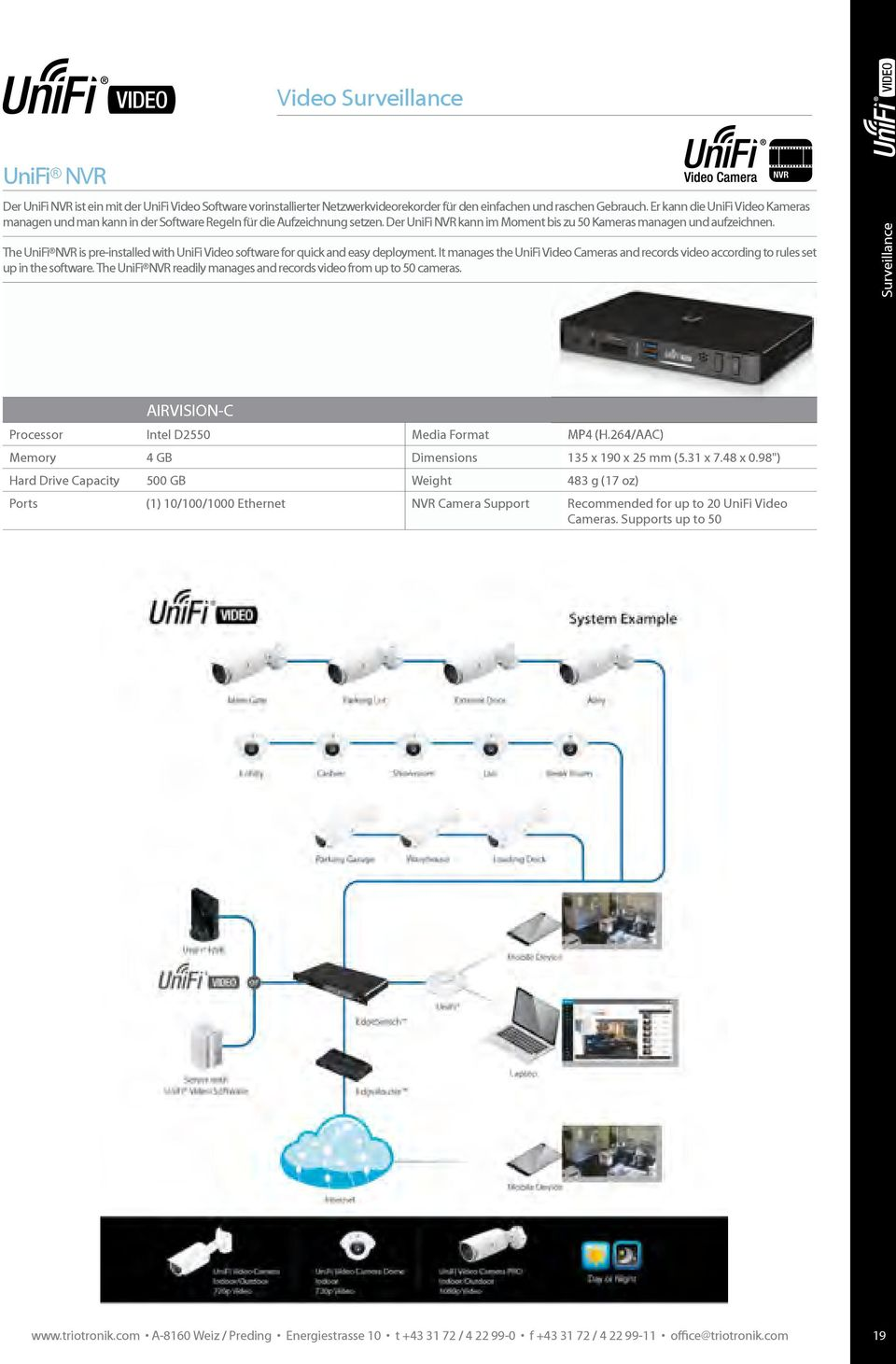 The UniFi NVR is pre-installed with UniFi Video software for quick and easy deployment. It manages the UniFi Video Cameras and records video according to rules set up in the software.