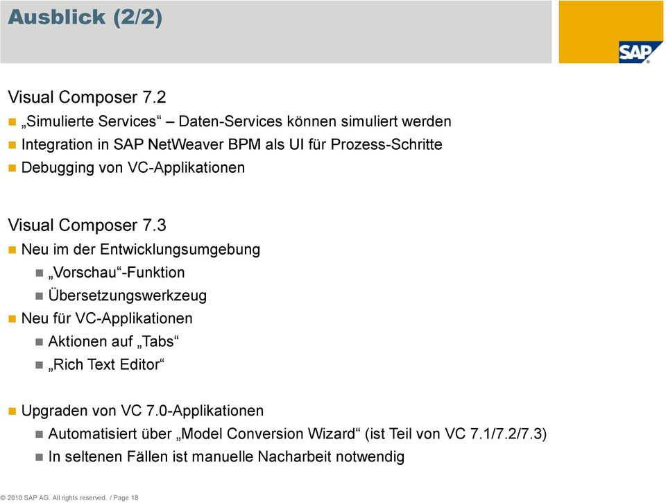 VC-Applikationen Visual Composer 7.