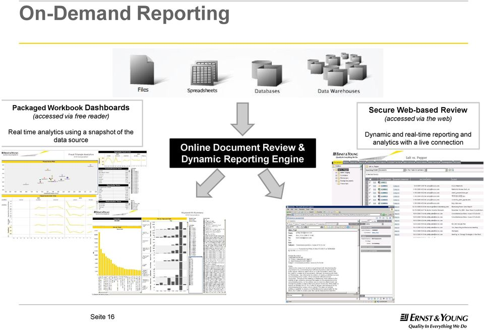 Review & Dynamic Reporting Engine Secure Web-based Review (accessed via the
