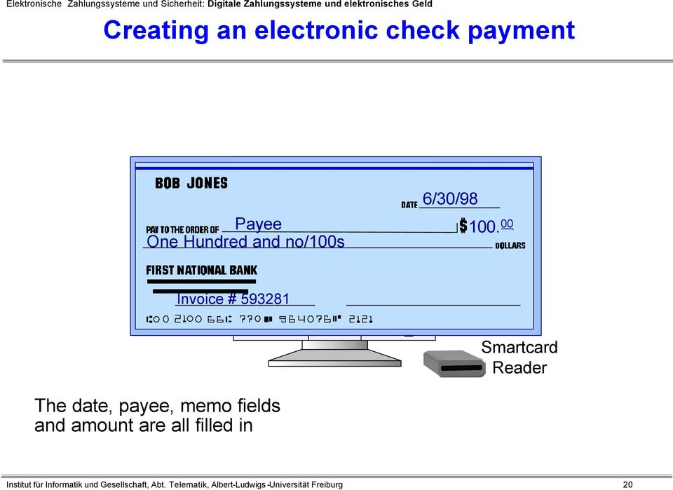 00 Invoice # 593281 Smartcard Reader The date, payee, memo fields