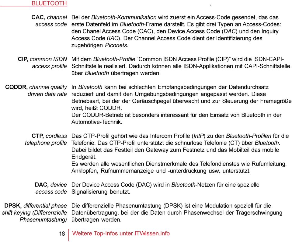 Es gibt drei Typen an Access-Codes: den Chanel Access Code (CAC), den Device Access Code (DAC) und den Inquiry Access Code (IAC).