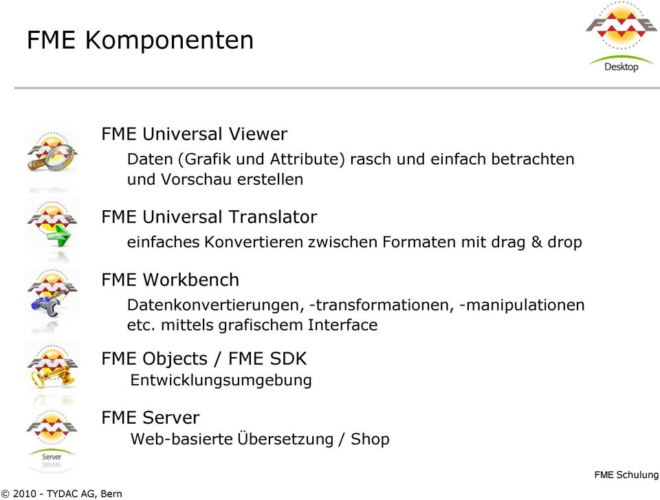& drop FME Workbench Datenkonvertierungen, -transformationen, -manipulationen etc.