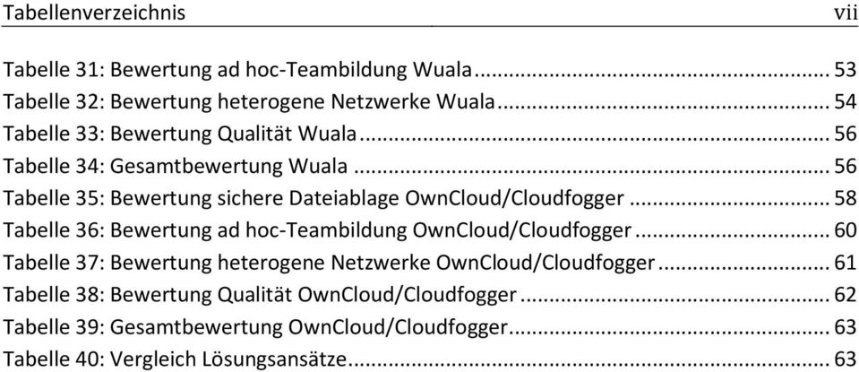 .. 56 Tabelle 35: Bewertung sichere Dateiablage OwnCloud/Cloudfogger... 58 Tabelle 36: Bewertung ad hoc-teambildung OwnCloud/Cloudfogger.