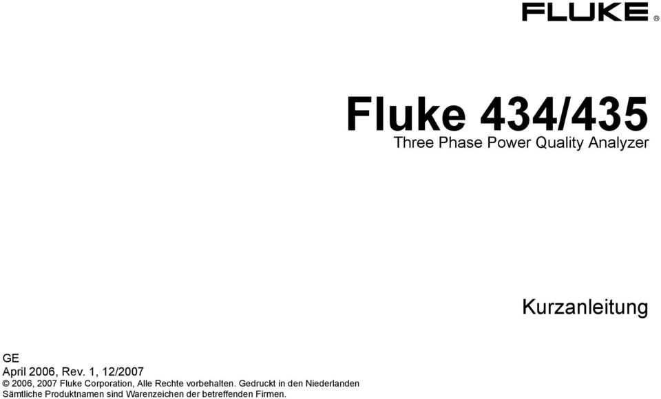 1, 12/2007 2006, 2007 Fluke Corporation, Alle Rechte
