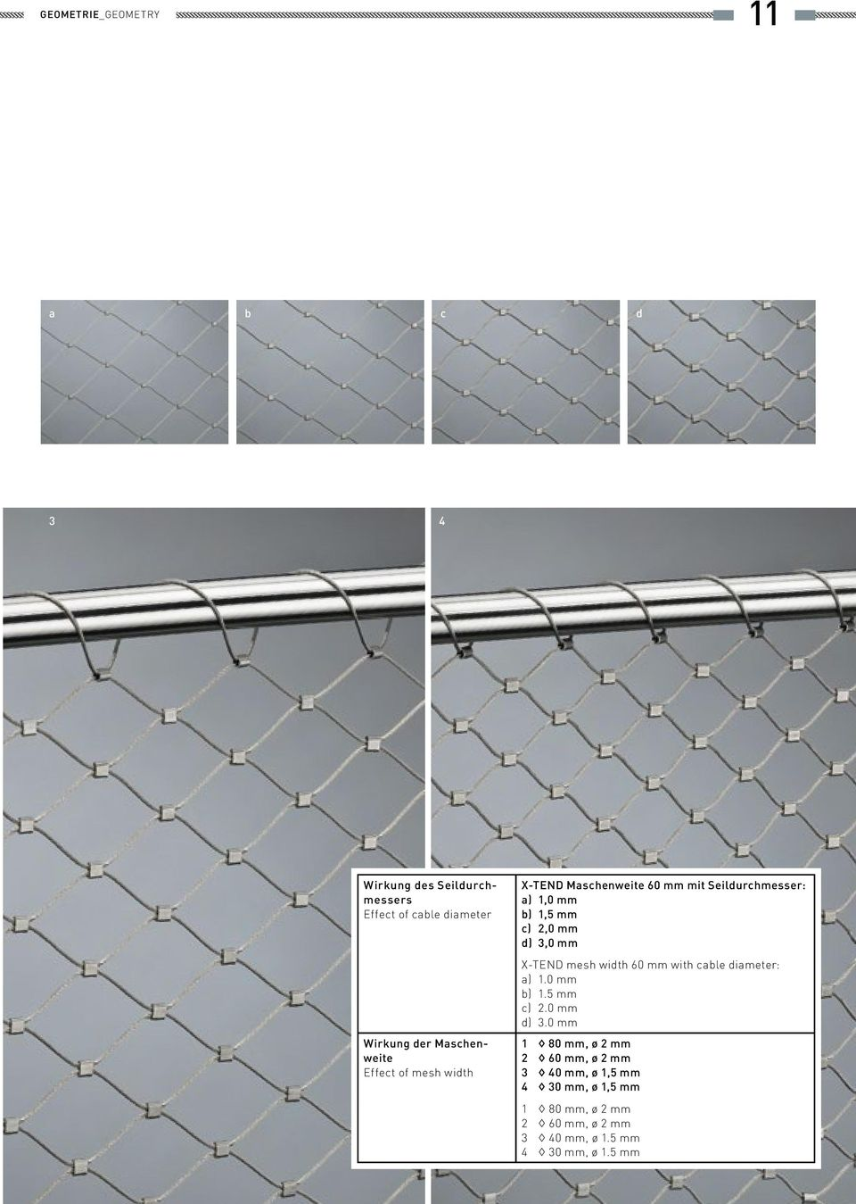 d) 3,0 mm X-TEND mesh width 60 mm with cable diameter: a) 1.0 mm b) 1.5 mm c) 2.0 mm d) 3.