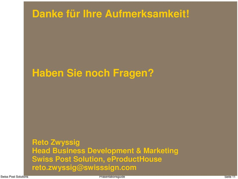 Reto Zwyssig Head Business Development &