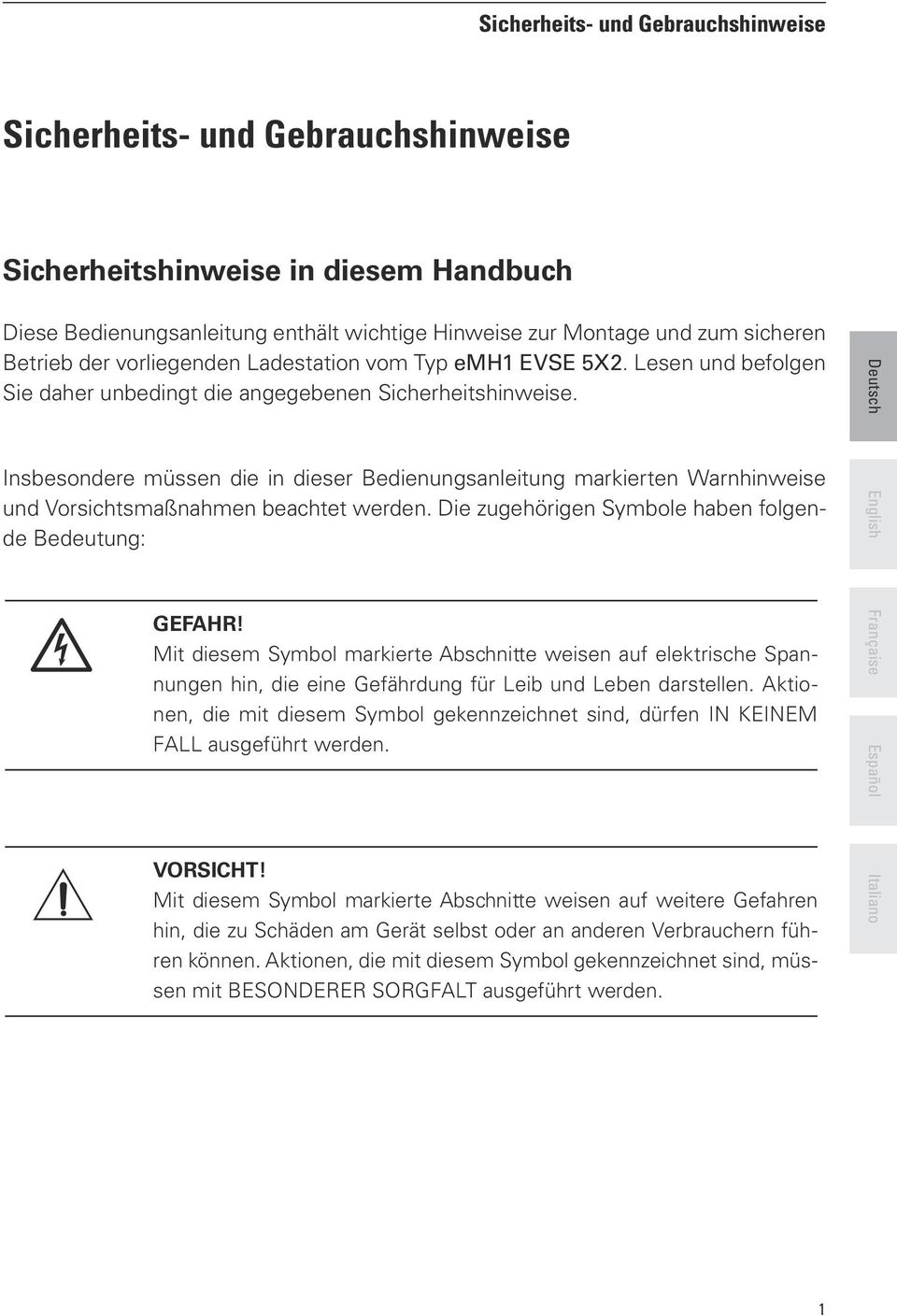 emh1 Basic mit Steckdose CHARGE YOUR FUTURE! Bedienungsanleitung ...